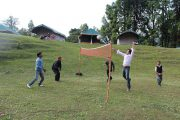 Guest are playing Volleyball at Magpie Camp Chopta